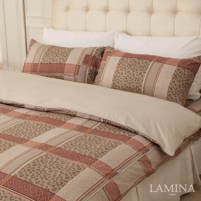 LAMINA-豹紋格子-雙人加大三件式精梳棉床包組