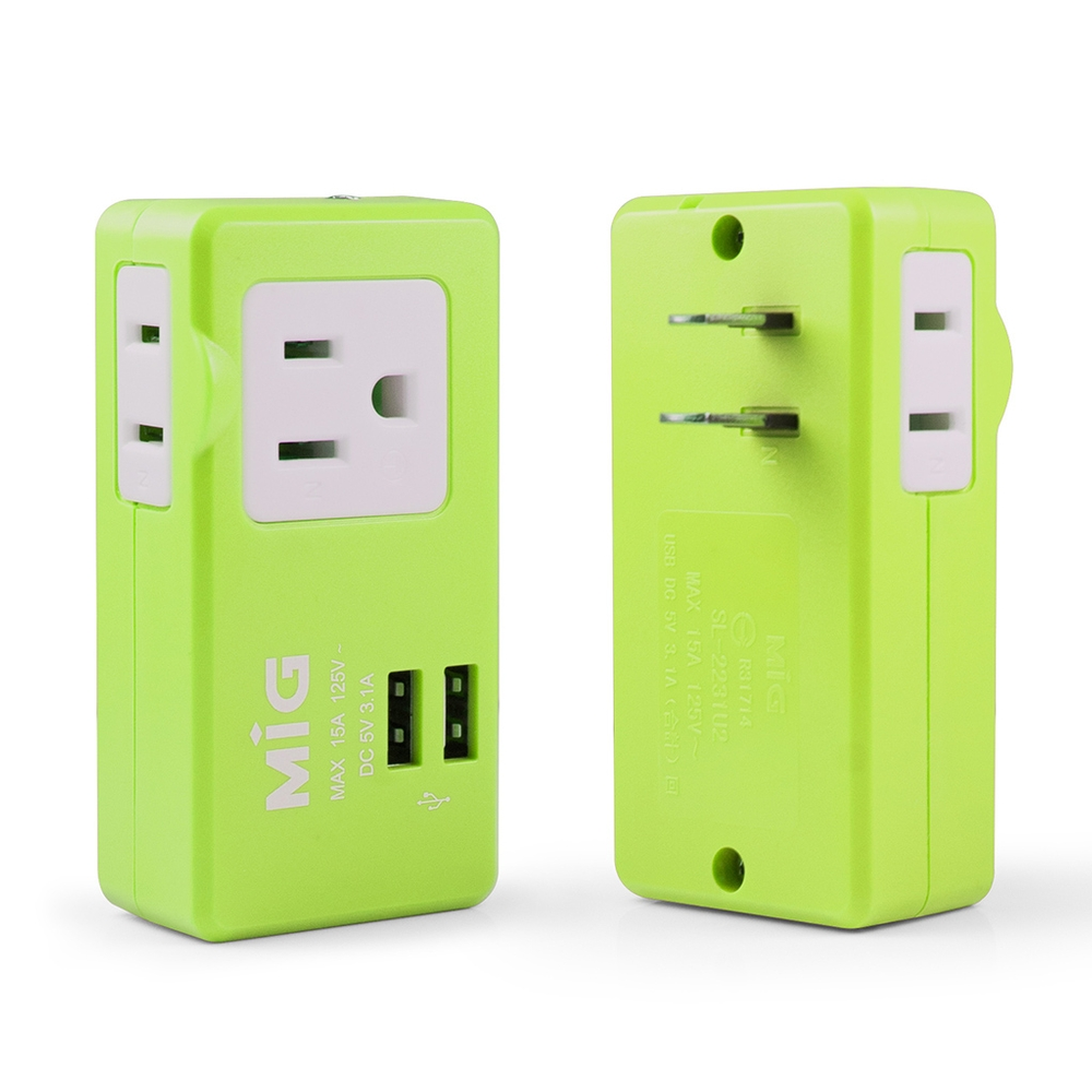 MIG明家 2P 3孔+2孔+雙USB埠 15A分接式插座(SL-2231U2) product image 1
