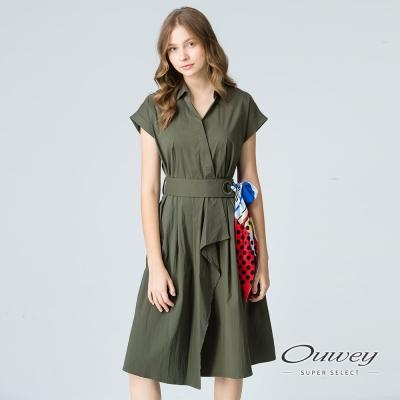 OUWEY歐薇 夏日風情斜裁綁帶洋裝(綠/藍)