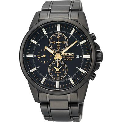 SEIKO 特務交鋒時尚計時腕錶(SNAF07P1)-黑/41mm