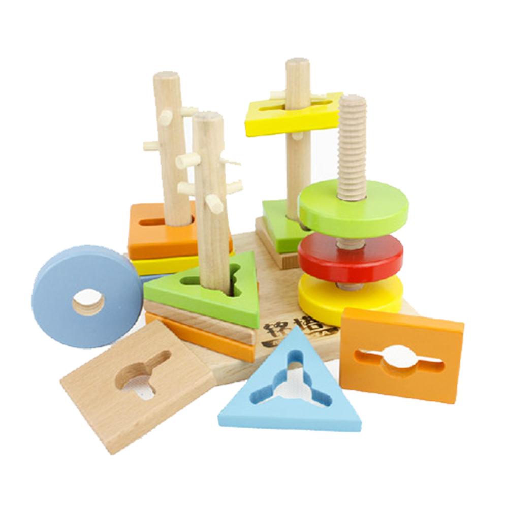 MingTa 木製幾何形狀認知柱