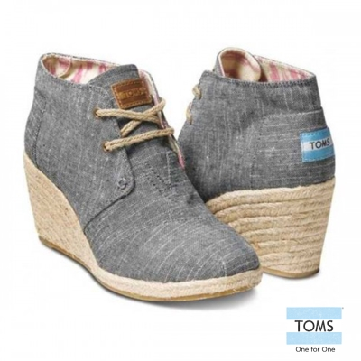 TOMS-麻布楔型鞋-女款-黑