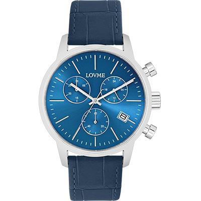 LOVME 城市獵人個性時尚手錶-藍/43mm