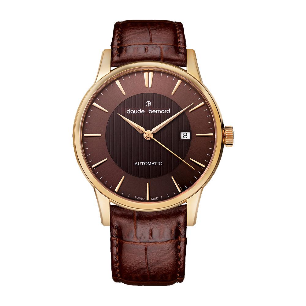 Claude Bernard Classic 爵士時尚機械腕錶-咖啡x玫塊金/42mm