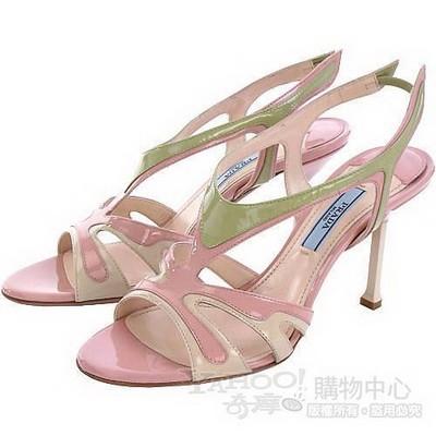 PRADA VERNICE Classic 多彩拼接高跟涼鞋(駝/粉色)