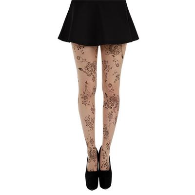 摩達客Pamela Mann英國進口義大利製 花草刺青藝術圖紋彈性褲襪