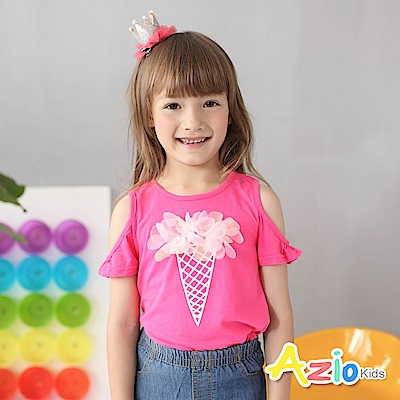Azio Kids 童裝-上衣 蕾絲冰淇淋露肩上衣(桃)