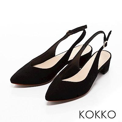 KOKKO - 輕熟香氣後拉帶尖頭粗跟鞋-沉靜黑