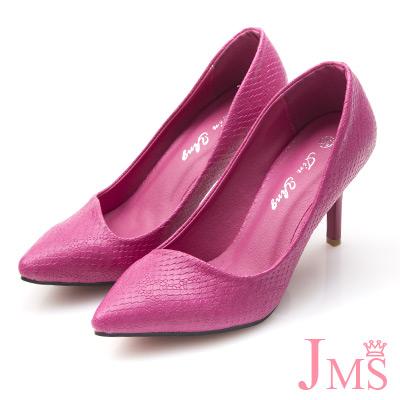 JMS-通勤族必備四季款蛇紋高跟鞋-桃紅色
