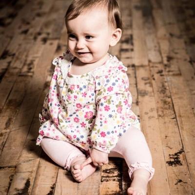 Minoti 英國 桃紅繽紛碎花長袖上衣長褲套裝2件組