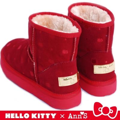 HELLO KITTY X Ann'S KT躲貓貓真皮雪靴禮盒 紅