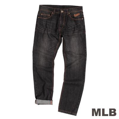 MLB-巴爾的摩金鶯隊復古水洗丹寧褲-黑(男)