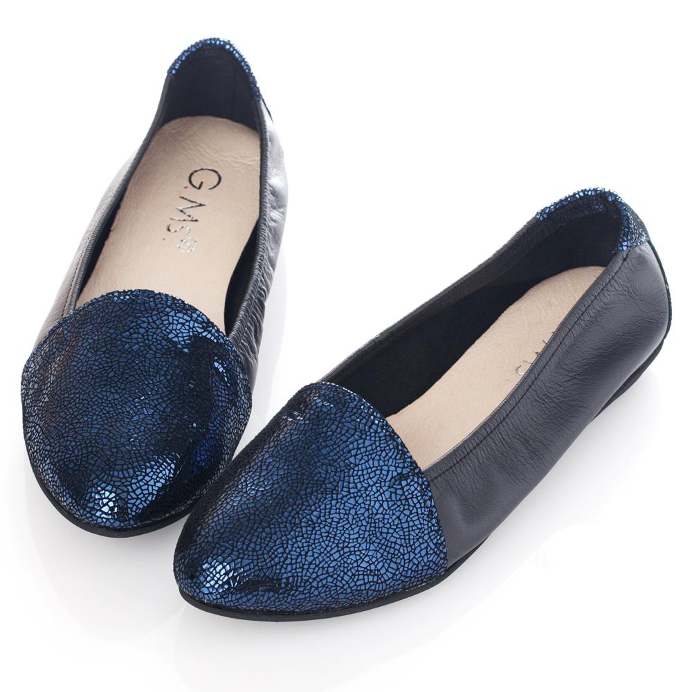 G.Ms. MIT系列-全真皮尖頭金屬爆裂紋懶人鞋-寶藍