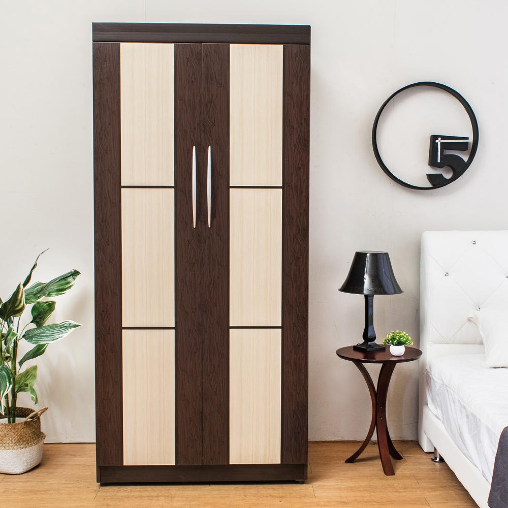 Birdie南亞塑鋼-3尺二門方塊直飾條塑鋼衣櫃(胡桃色+白橡色)-90x60x196cm