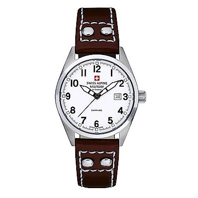 阿爾卑斯 S.A.M -獨家限定-指揮官系列-白色錶盤/皮帶/30mm