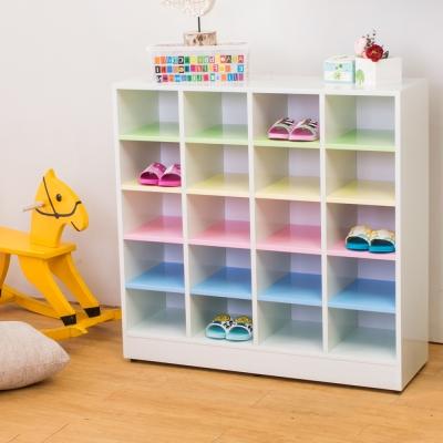 Birdie南亞塑鋼-3.2尺開放式20格塑鋼鞋櫃(彩色板)-96x31x94cm
