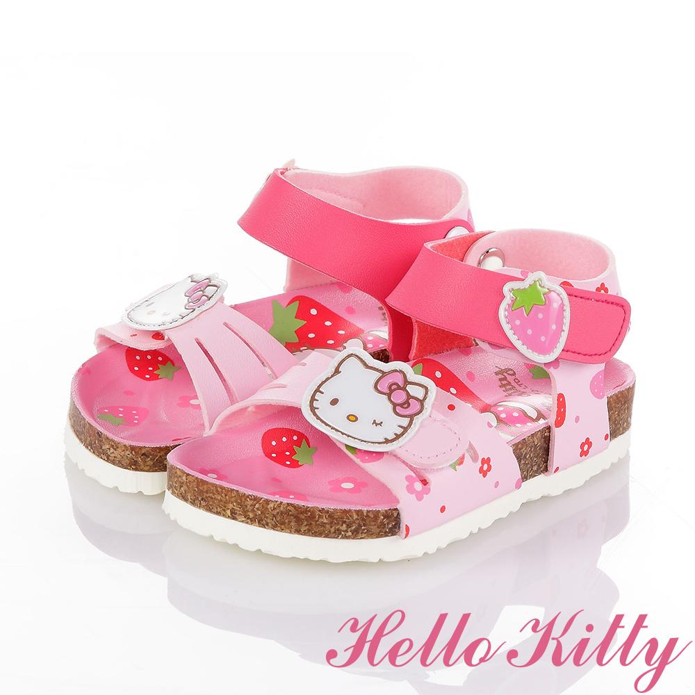 HelloKitty 草莓系列 清爽舒適吸震防滑休閒涼鞋童鞋-粉