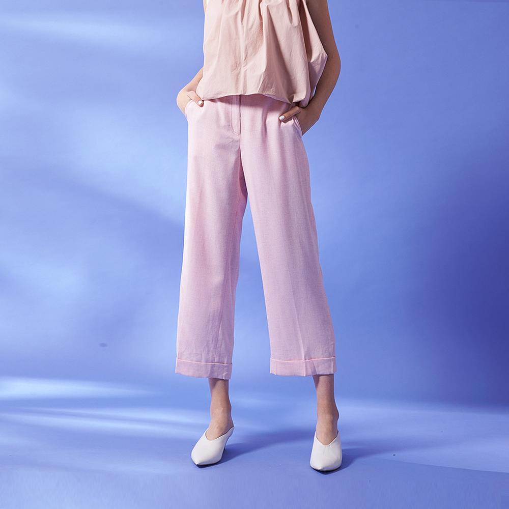 ICHE 衣哲 都會時尚九分反摺褲管設計直筒造型寬褲-粉