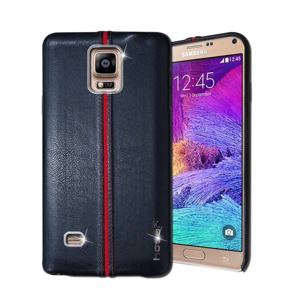 HOCAR Samsung Galaxy Note4 爵士皮革保護手機殼(摩藍)