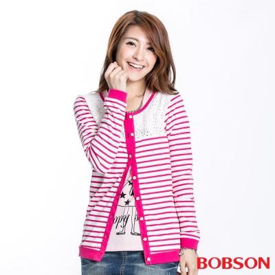 BOBSON 女款蕾絲條紋長袖薄外套(桃紅23122-15)