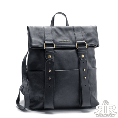 2R-原創台北-牛皮雙肩後背包-深寶藍