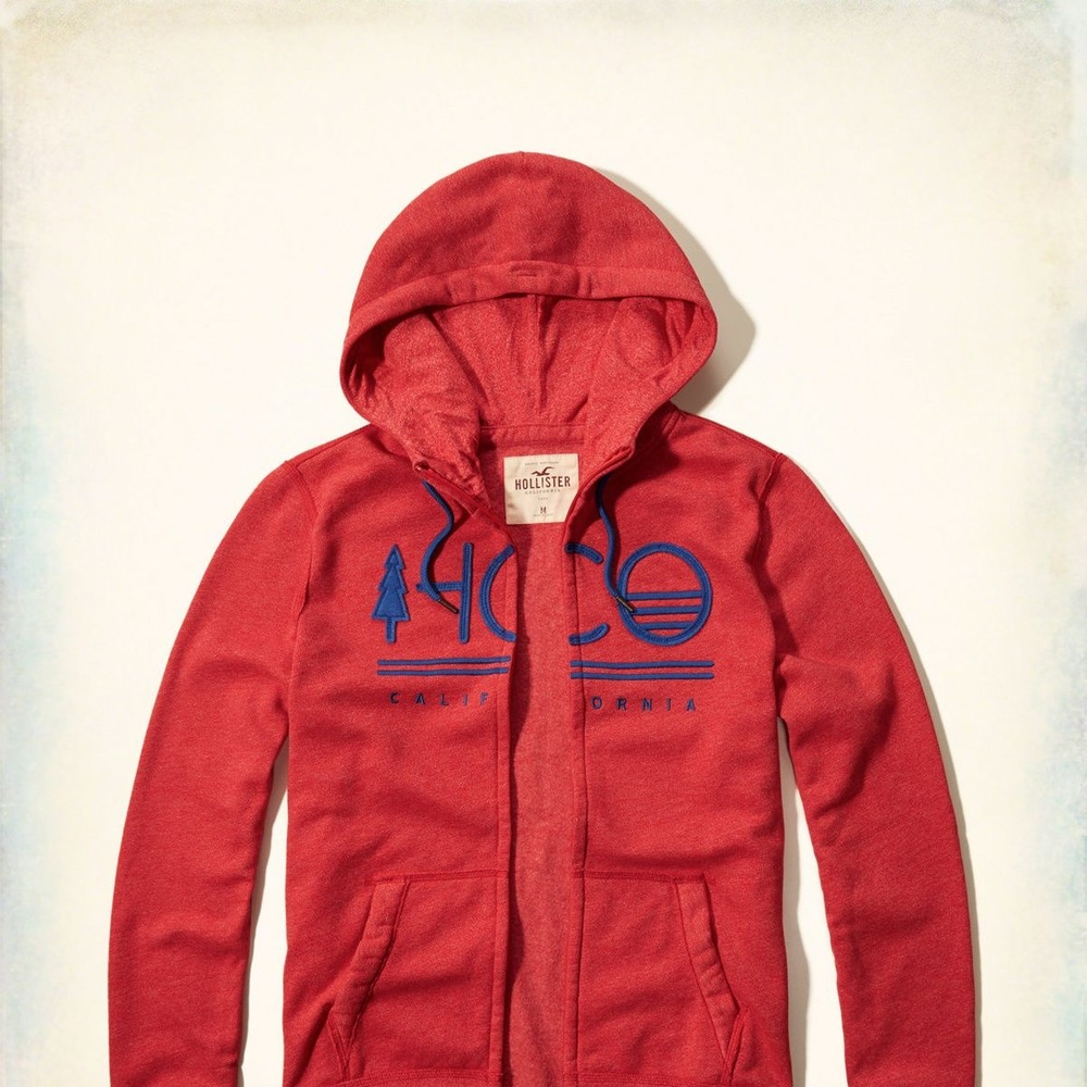 Hollister HCO 長袖 文字 連帽外套 紅色 259 product image 1