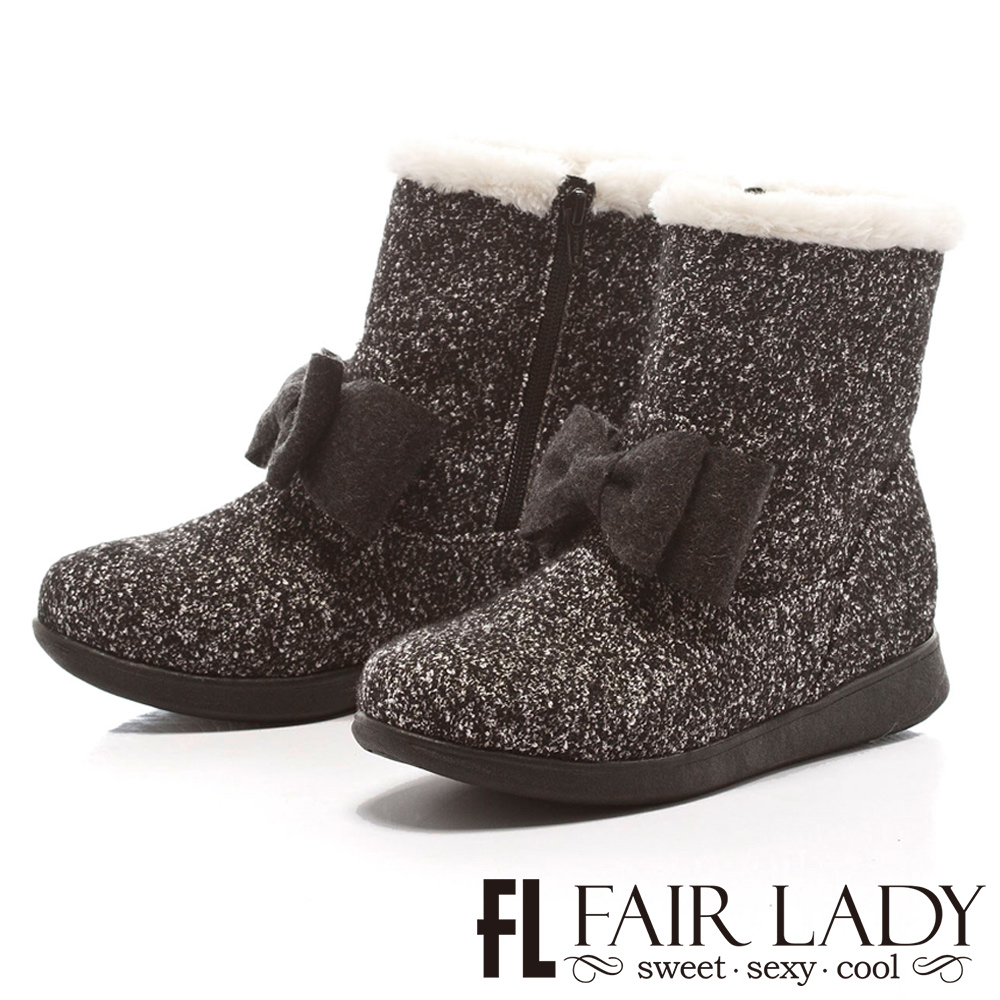 Fair Lady 溫暖甜蜜蝴蝶結舖毛雪靴 雪花灰