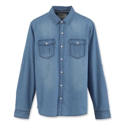 Hang Ten - 男裝 - 經典丹寧長袖襯衫-藍