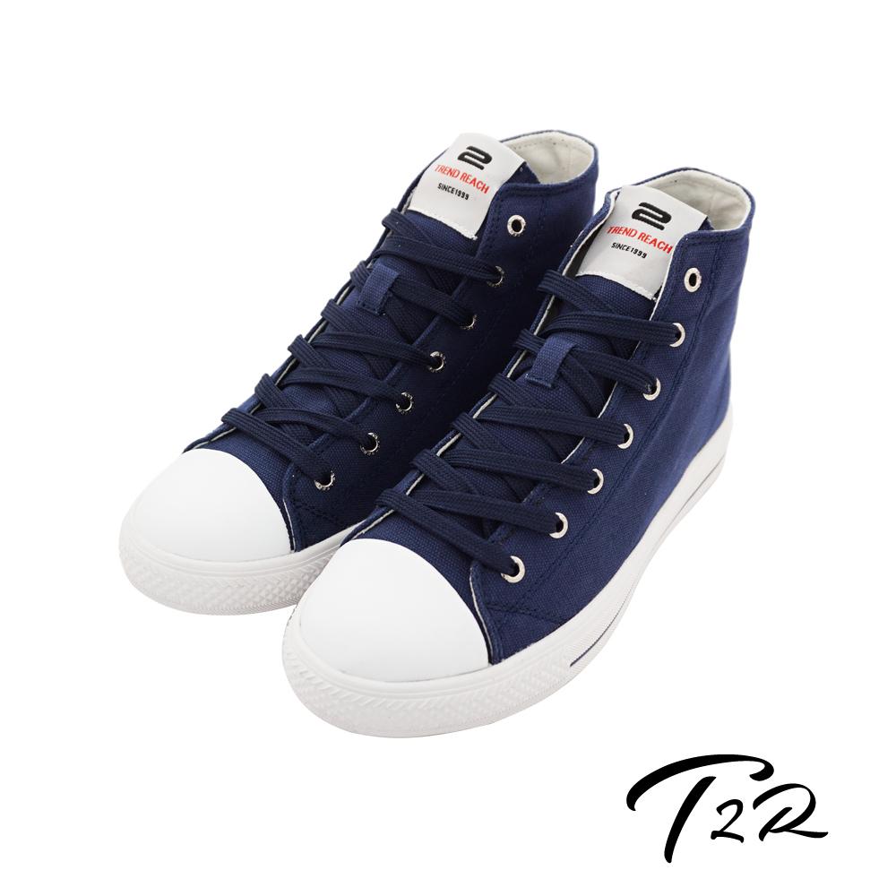 【T2R】韓國空運增高7cm經典款休閒氣墊高筒帆布鞋 神秘藍