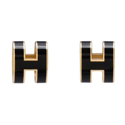 HERMES 經典立體H LOGO簍空橢圓穿式耳環(黑X金)