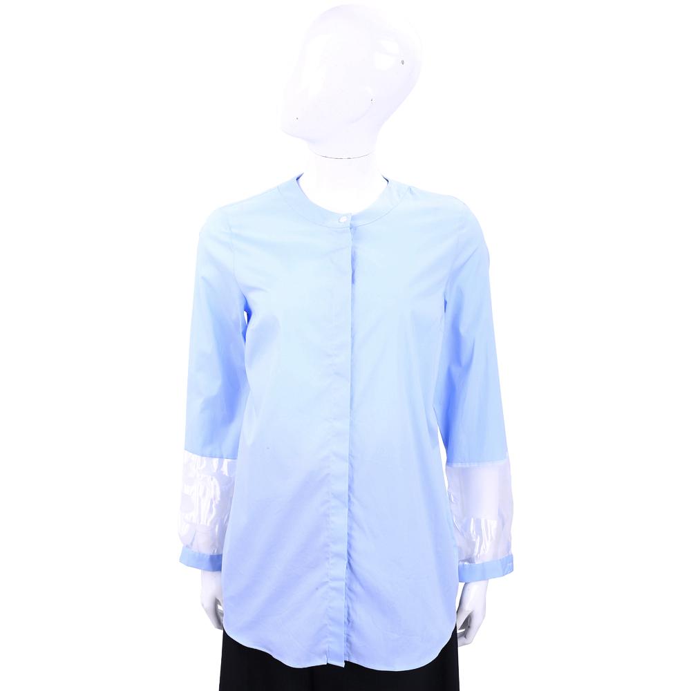 ROCCO RAGNI 蕾絲細節長袖天藍色棉料襯衫