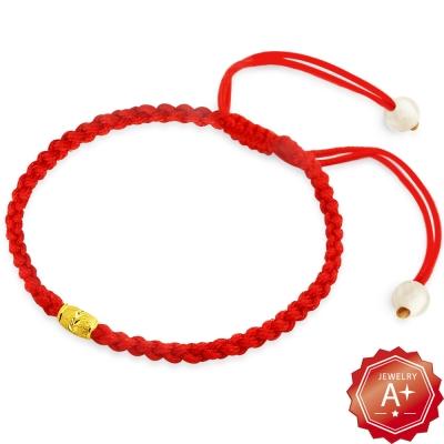 A+ 編織愛 千足黃金轉運珠紅繩手鍊