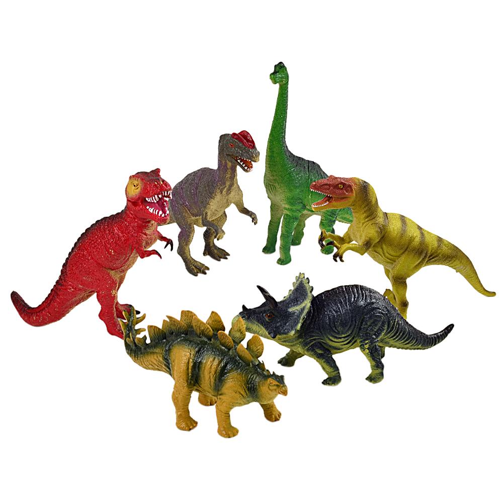 恐龍世界按壓式啾啾恐龍擬真造型公仔模型6入組