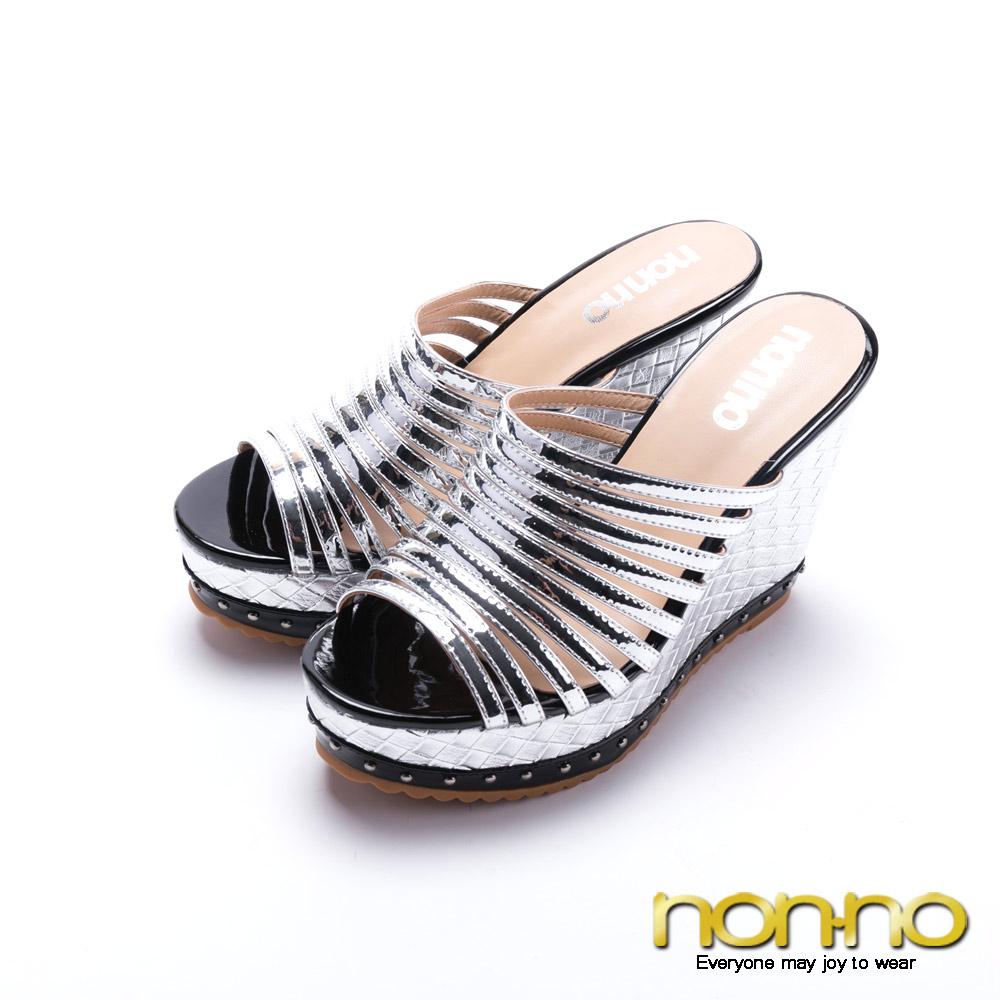 nonno羅馬經典曲線楔型高跟涼拖鞋-銀