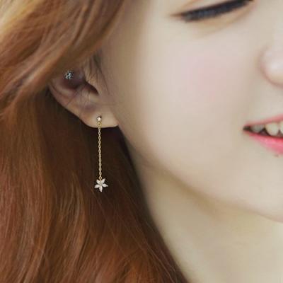 梨花HaNA無耳洞韓國垂綴皓鑽鑲飾小花卉夾式耳環