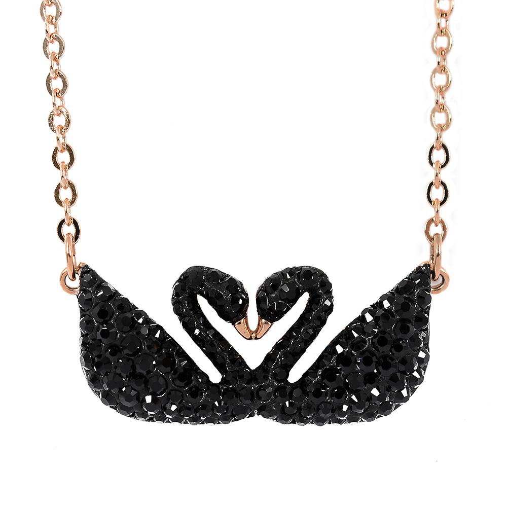 SWAROVSKI 施華洛世奇 雙黑天鵝造型黑色水晶玫瑰金色項鍊