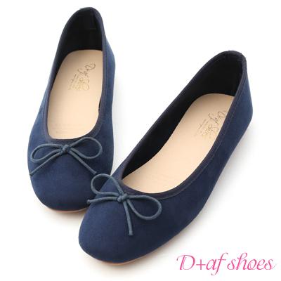 D+AF 芭蕾舞曲.蝴蝶結絨料平底娃娃鞋*藍