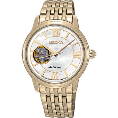 SEIKO Presage 羅馬時光開芯機械女錶(SSA850J1)-珍珠貝x金/34mm