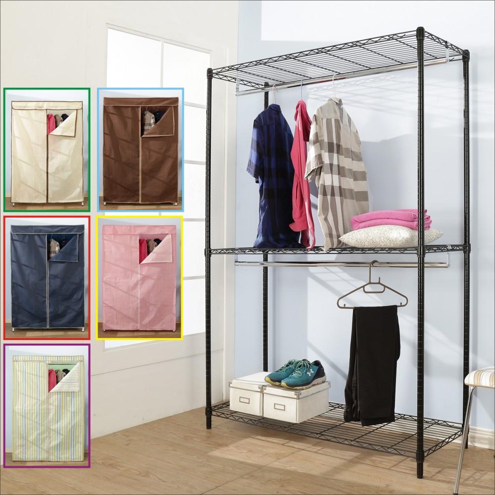 BuyJM鐵力士黑烤漆強固型三層雙桿布套衣櫥120x45x180CM-DIY
