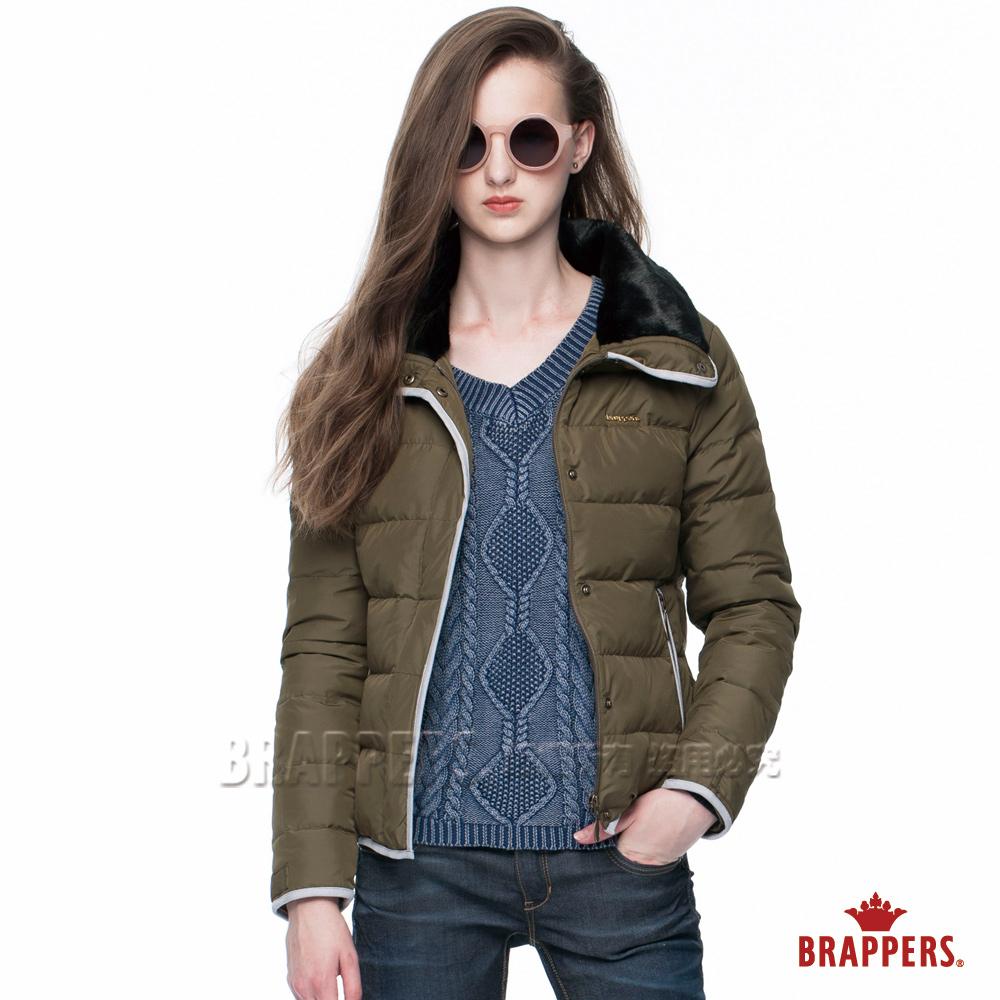 BRAPPERS女款女用毛領短版羽絨外套-秋香綠