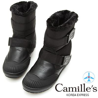 Camille's 韓國空運-正韓製-拼接尼龍魔鬼氈太空短靴-黑色