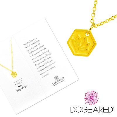 Dogeared token of beginnings 完美六邊形金色項鍊 手工浮雕蓮花