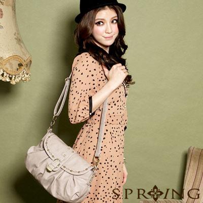 【SPRING】時尚名模~英倫美學刺繡2way肩揹包(小)-咖啡杏(共兩色)