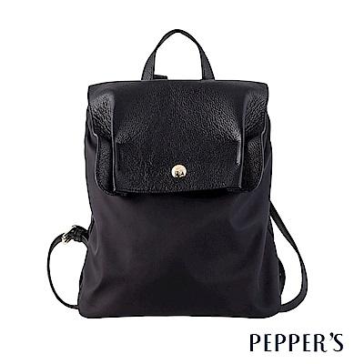 PEPPER`S Blake 真皮尼龍後背包 - 黑
