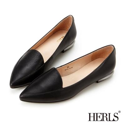 HERLS-平底鞋-全真皮-素面-尖頭樂福鞋-黑色