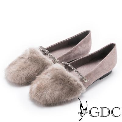 GDC-優雅氣質貂毛水鑽平底包鞋-灰色