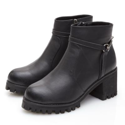 JMS-騎士風範馬鞍釦飾T字高跟短靴-黑色