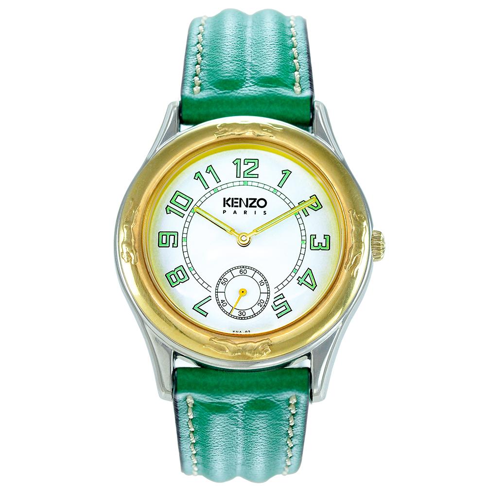 KENZO 品味出眾紳士腕錶-米白色x綠皮帶/33mm(福利品)