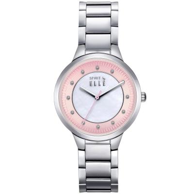 ELLE 時尚晶鑽不繡鋼時尚腕錶-粉色x白色/34mm
