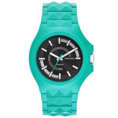 DIESEL 龐克主義造型腕錶-黑x綠/42mm